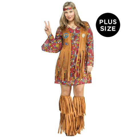 Peace and Love Hippie Plus Adult Costume