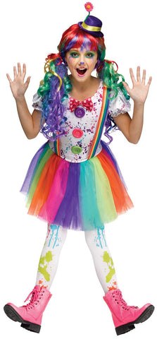 Crazy Color Clown Child Costume