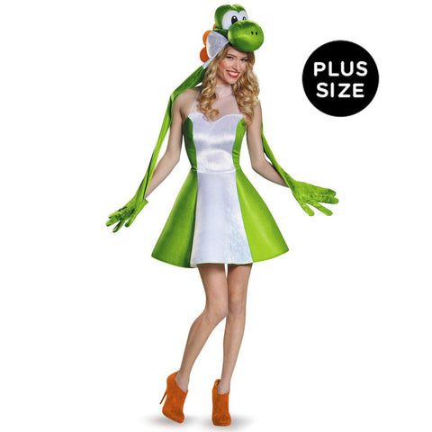 Super Mario Bros: Yoshi Female Adult Costume Plus