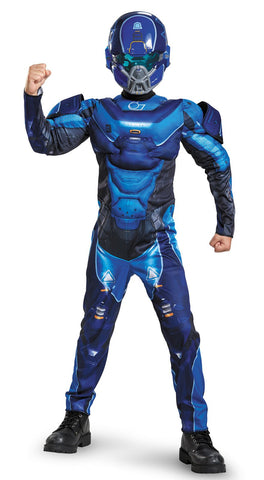 Halo Blue Spartan Classic Muscle Child Costume