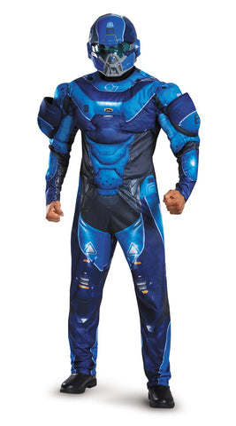 Halo Blue Spartan Muscle Teen Costume