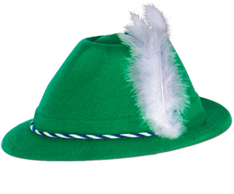 Oktoberfest Green Velour Tyrolean Hat Adult