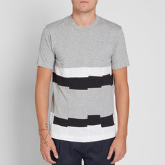 Patchwork Stripe T-Shirt Grey / White / Black