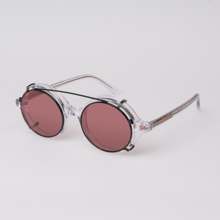 Doc Clip On Sunglasses Clear Red