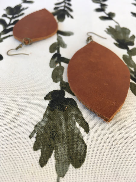 Rustic Leather Earrings - Large
