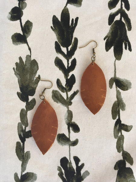 Rustic Leather Earrings - Medium