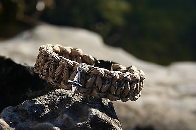 Tan and Black Camo Paracord bracelet with Kayak Charm Made in USA