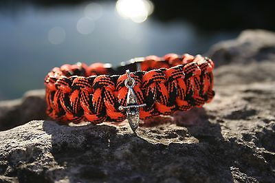 Orange and Black  Camo Paracord bracelet with Kayak Charm Made in USA 7 inch