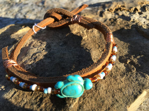 Blue Turtle Leather and Seed Bead Bracelet.