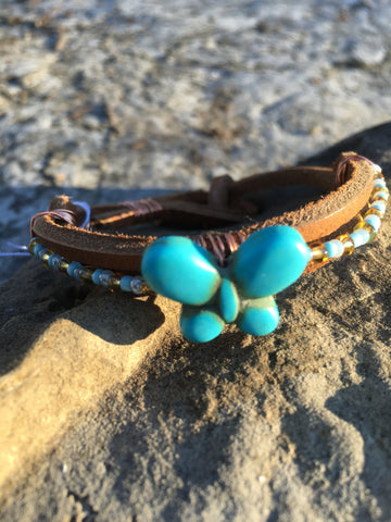 Butterfly and seed bead leather bracelet