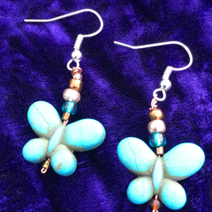 Blue Butterly Glass Bead and Copper Wire Earrings