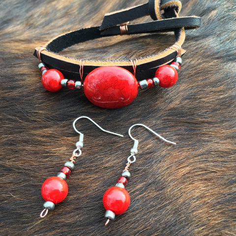 Leather Bracelet with Matching Earrings