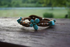 Blue Butterfly Bracelet with Multi Colored Glass Beads
