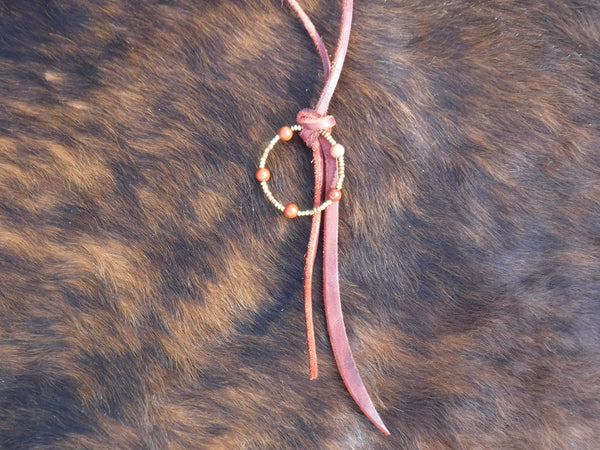 Leather Lariat Style Necklace with a Beaded Ring