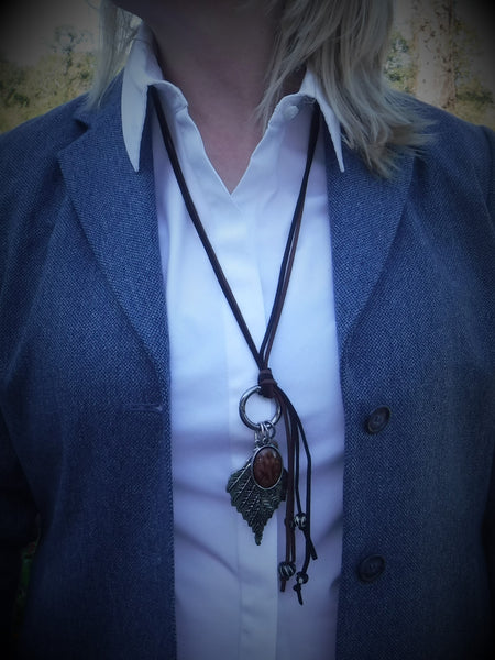 Suede Leather Necklace with Changeable Pendants