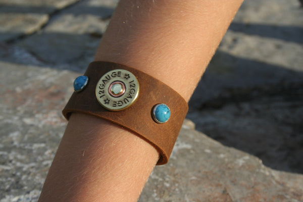 Medium Brown Leather Cuff with Brass Concho and Turquoise Colored Stones