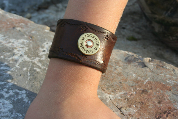 Leather Cuff Bracelet by Ozark Mountain Leather with Stamped Star Design