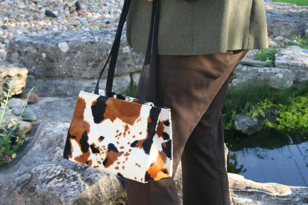 Faux Cow Hide Box Style Bag Made in USA by US Handmade Fashion