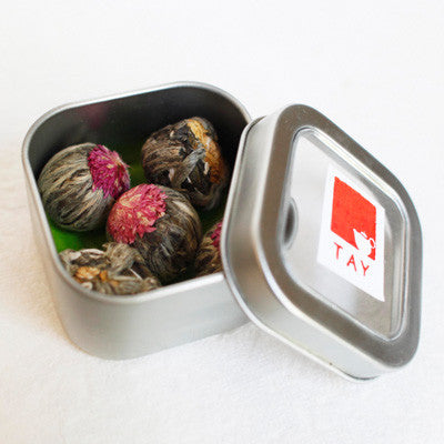 Silver Blooming Tea Tin