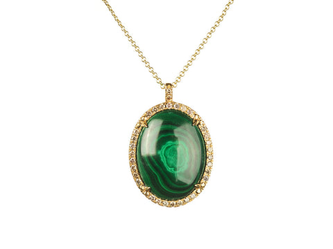 Malachite Halo Pendant in 18k Yellow Gold