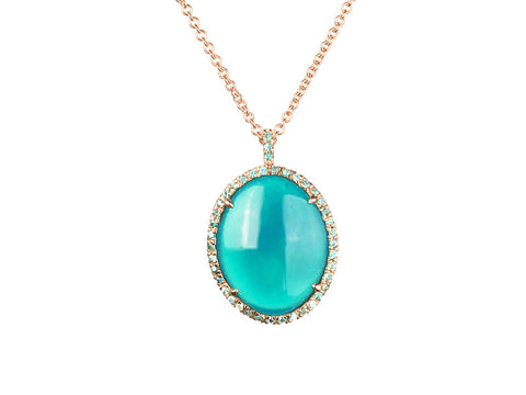 Chrysocolla Halo Pendant in 14k Rose Gold