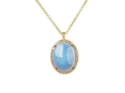Denim Opal Halo Necklace in Yellow Gold