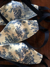 French Toile Ribbon Strap Mask