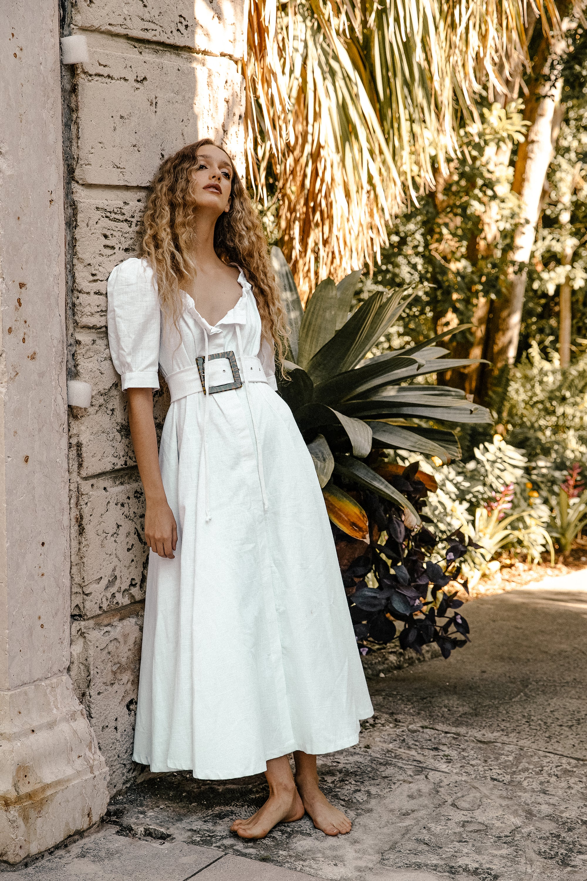 Aphrodite Dress - White Heavy Linen (Pre-Order)