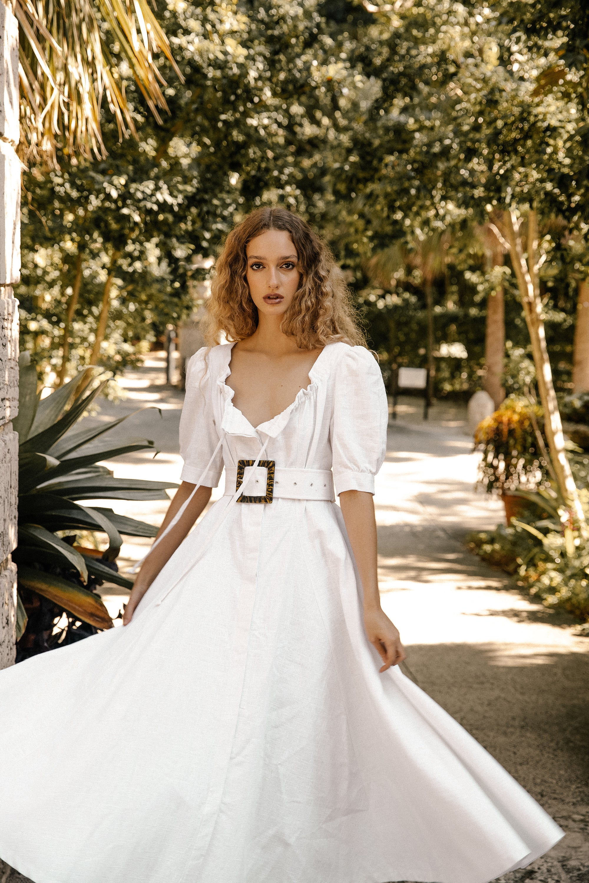 Aphrodite Dress - White Heavy Linen