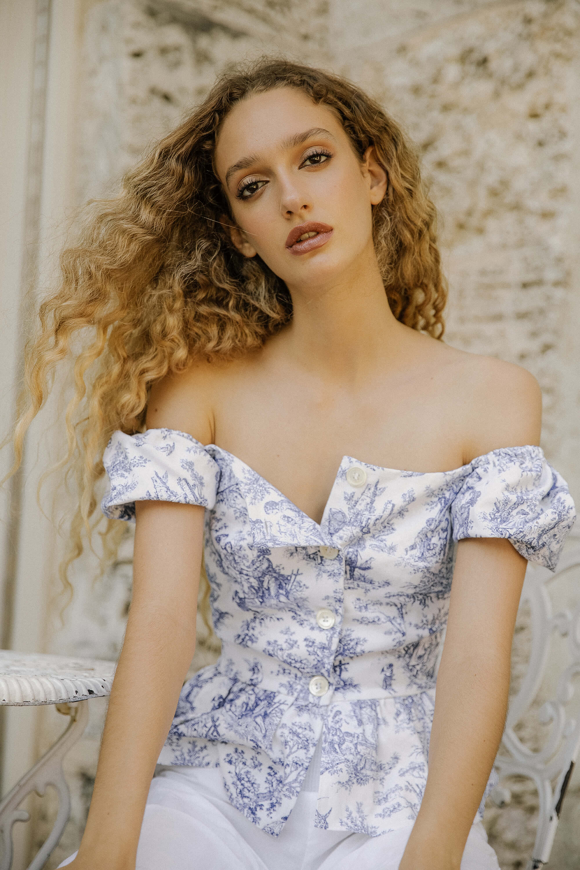 Amore Top - Blue Toile
