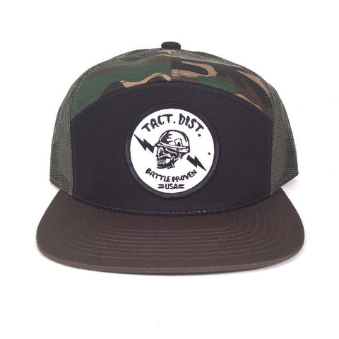 Battle Proven 7 Panel Twill Trucker Hat Black/Camo