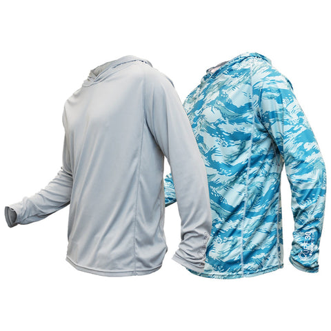 TD Tiger Shark Long Sleeve Hooded Sun Shirt UPF30 - NO RETURNS
