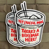 "Violent Little ""CAREFUL MAN, THERE'S A BEVERAGE HERE"" Morale Patch"