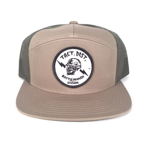 Battle Proven 7 Panel Twill Trucker Hat Light Khaki/Loden
