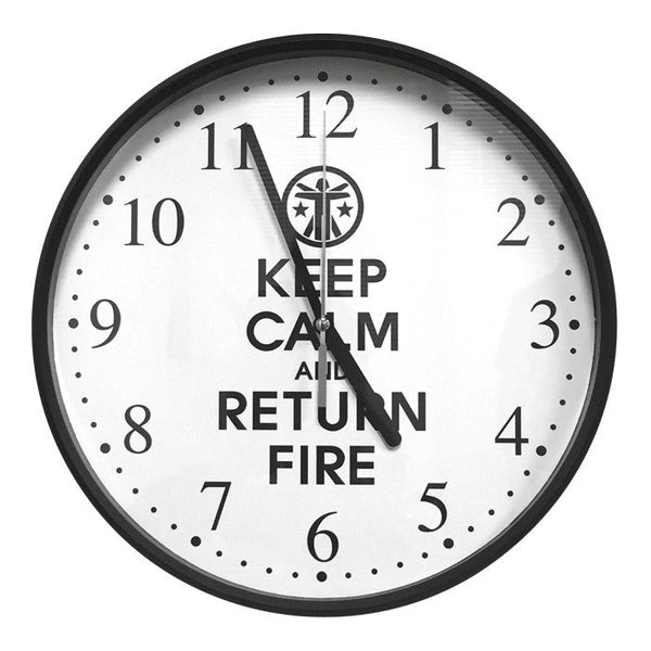 "Keep Calm & Return Fire™ 10"" Round Wall Clock Keep Calm Wall Clock - 1"