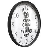 "Keep Calm & Return Fire™ 10"" Round Wall Clock Keep Calm Wall Clock - 2"