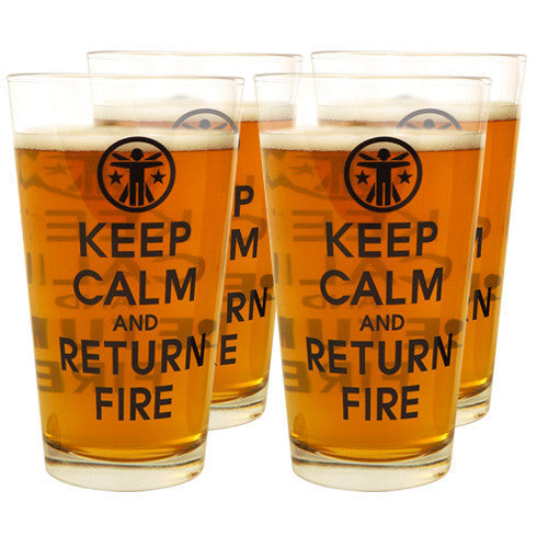 Keep Calm & Return Fire™ Pint Glasses (4 Pack) Keep Calm Drinking Glass