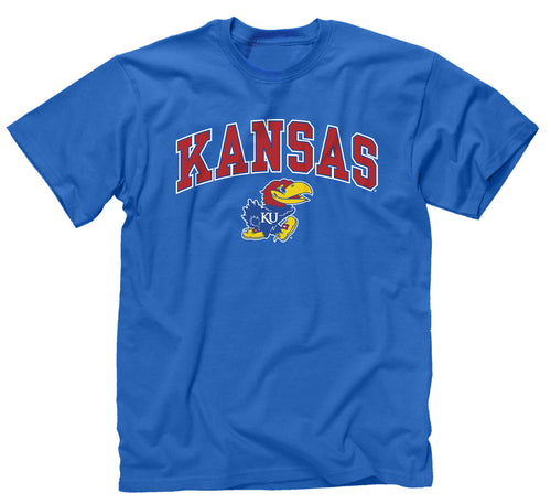 NCAA Adult Arch & Logo Soft Style Gameday T-Shirt (Kansas Jayhawks - Royal)