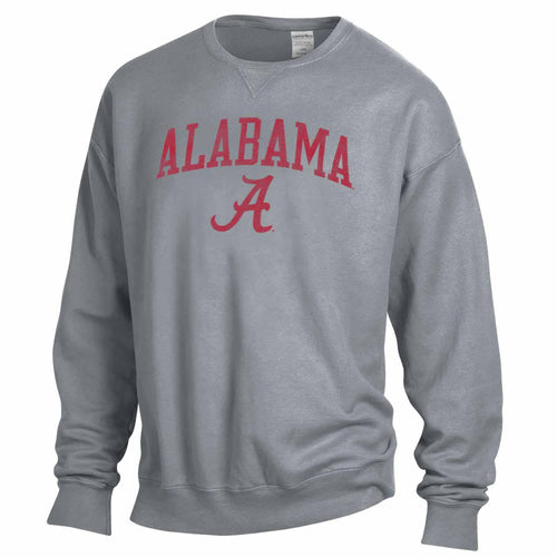 NCAA Adult Ultra Soft Comfort Wash Crewneck Sweatshirt (Alabama Crimson Tide - Gray)