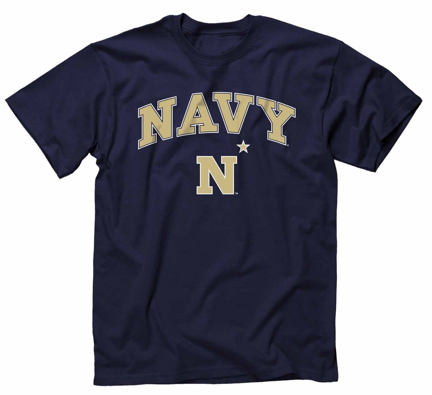 NCAA Adult Arch & Logo Soft Style Gameday T-Shirt (Navy Midshipmen - Navy)