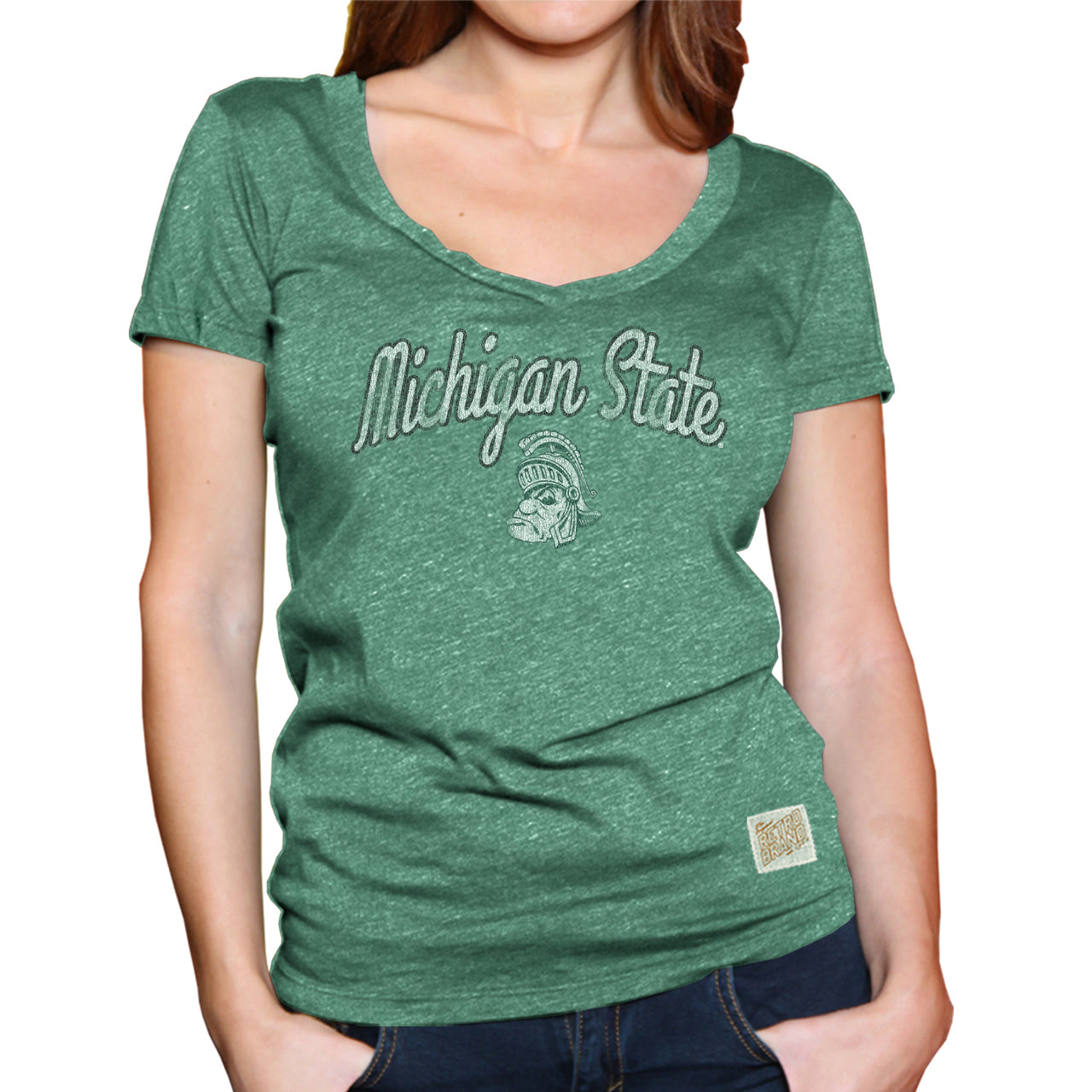Michigan State Spartans Womens Soft Triblend V-Neck T-Shirt  - Green