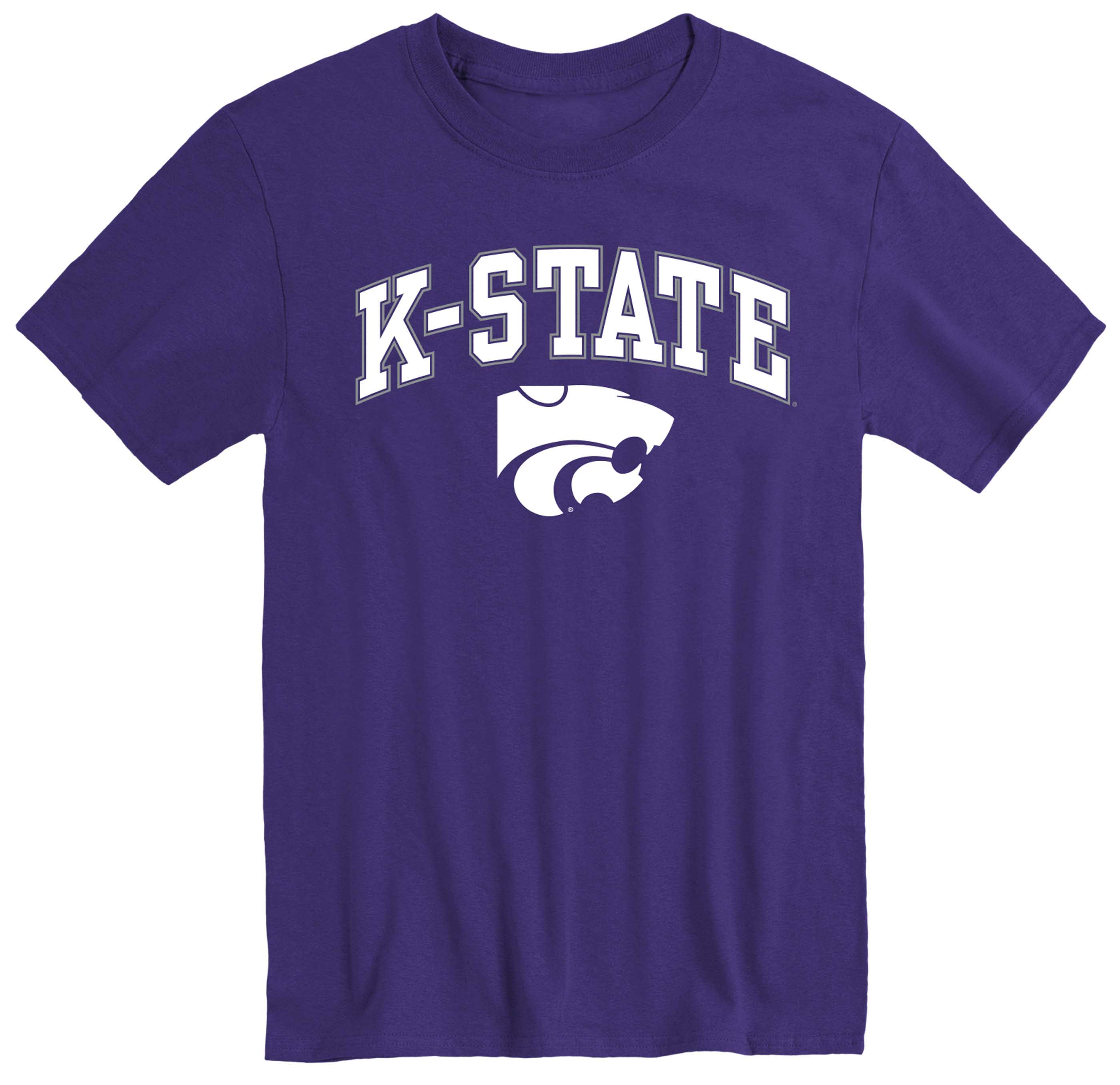 NCAA Adult Arch & Logo Soft Style Gameday T-Shirt (Kansas State Wildcats - Purple)