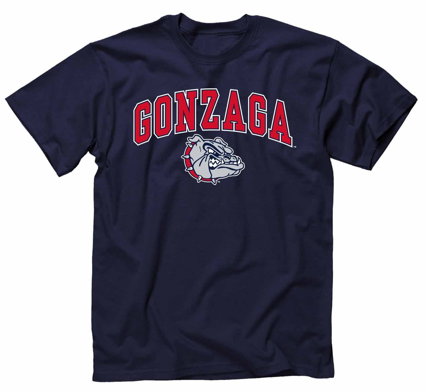 NCAA Adult Arch & Logo Soft Style Gameday T-Shirt (Gonzaga Bulldogs - Navy)