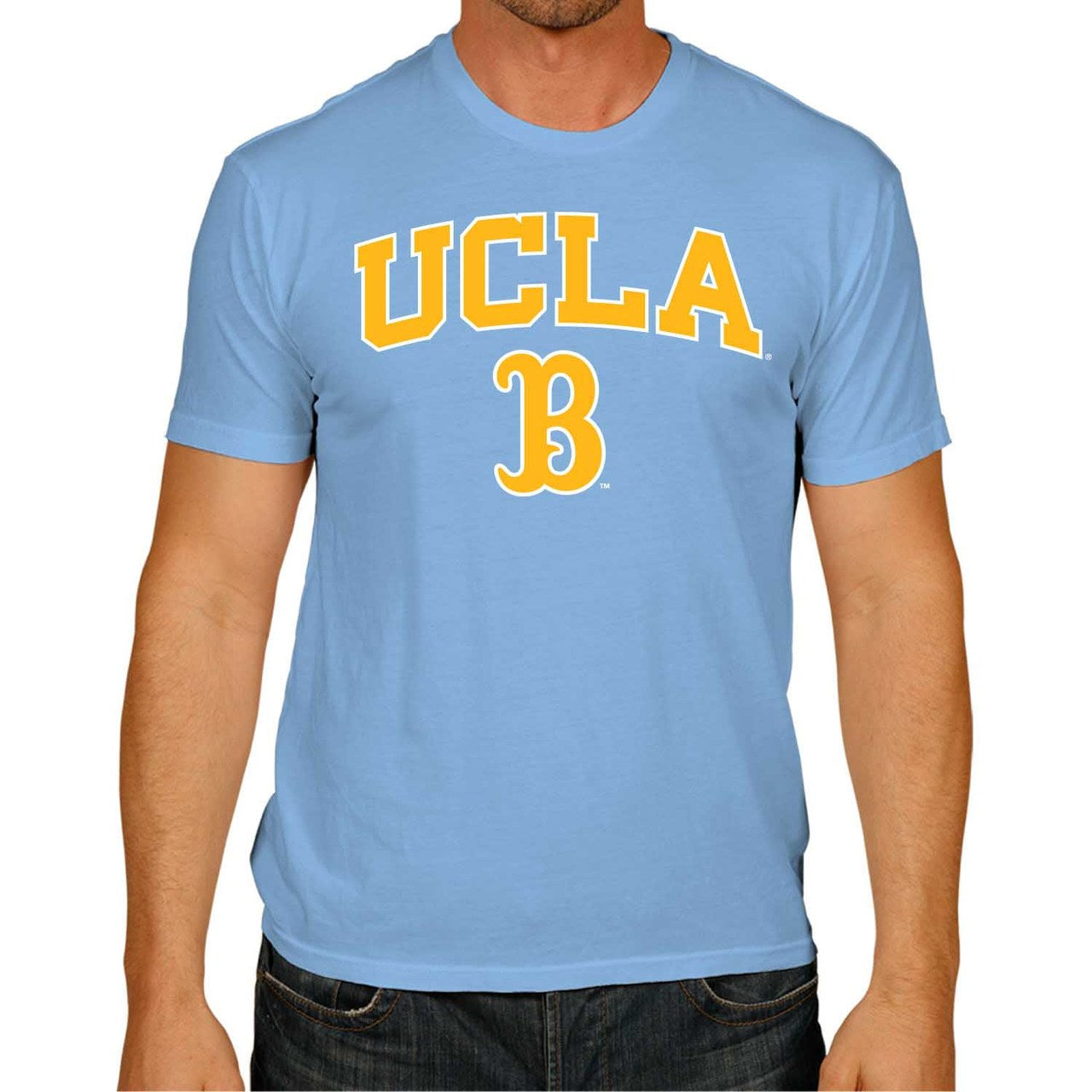 NCAA Adult Arch & Logo Soft Style Gameday T-Shirt (UCLA Bruins - Light Blue)