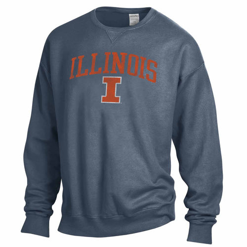 NCAA Adult Ultra Soft Comfort Wash Crewneck Sweatshirt (Illinois Fighting Illini - Navy)