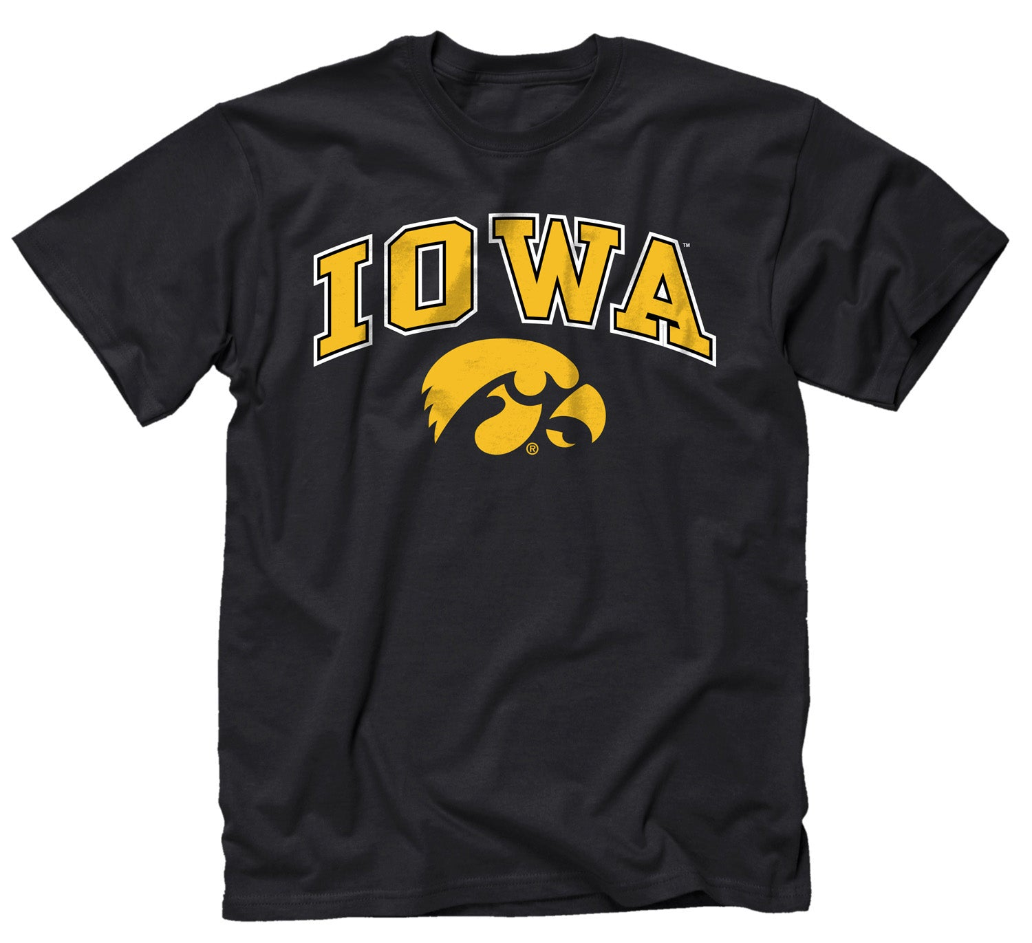 NCAA Adult Arch & Logo Soft Style Gameday T-Shirt (Iowa Hawkeyes - Black)