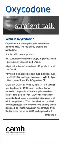 Straight Talk: Oxycodone|Parlons franchement : L'oxycodone