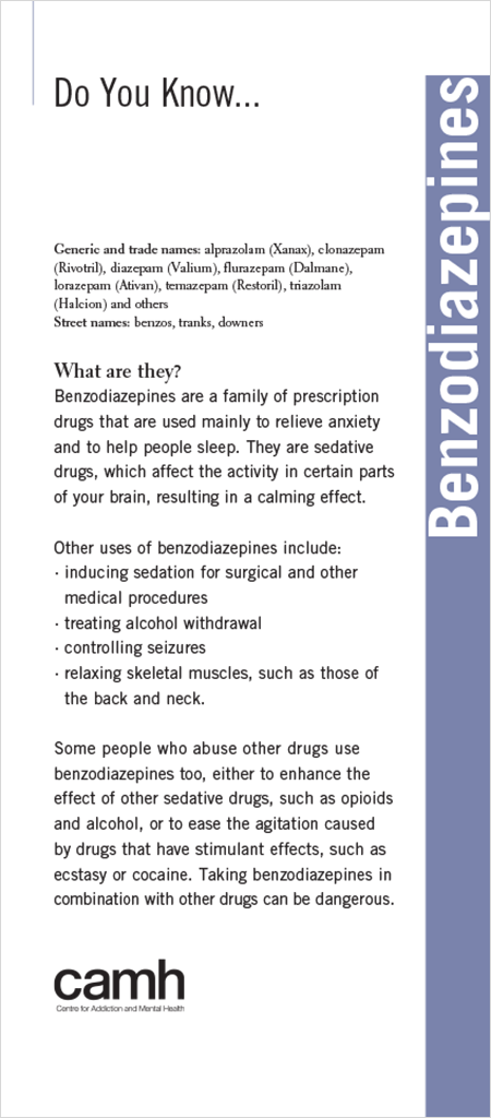 Do You Know… Benzodiazepines | CAMH Online Store