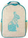 Raw Linen Aqua Bunny Eco-Linen Backpack