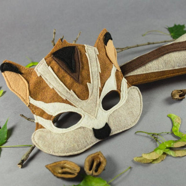 Handmade Chipmunk Eco-Felt Mask & Tail